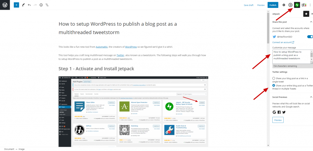 How to setup WordPress to publish a blog post as a multithreaded tweet